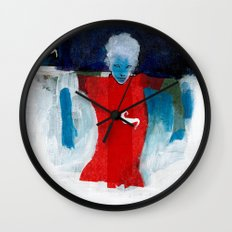 woman in the wind Wall Clock