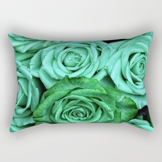 Sea Green Roses Rectangular Pillow