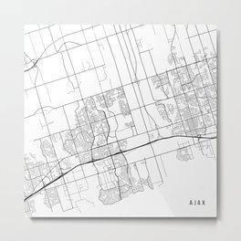 Ajax Map, Canada - Black and White  Metal Print