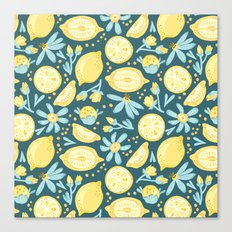 Lemon Pattern Green Canvas Print