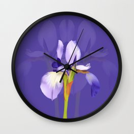 Purple Iris With Fading Iris and Purple Background Wall Clock