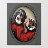 the hound Canvas Prints featuring Basset Hound - Hound Love by The Lonely Pixel