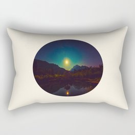 Colorful Night Sky Blue Green Purple With Mountains Rectangular Pillow