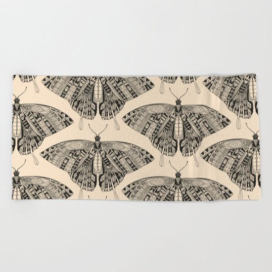 swallowtail butterfly pale peach black Beach Towel