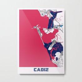 Cadiz - Spain MilkTea City Map Metal Print