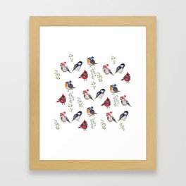 Birds of a Christmas feather Framed Art Print