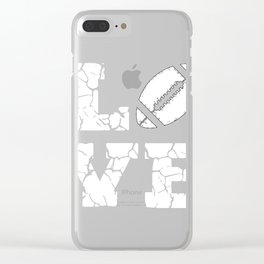 I Love American Football Game Player Mom Dad Design Clear iPhone Case