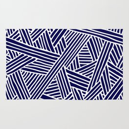 Abstract navy blue & white Lines and Triangles Pattern- Mix and Match with Simplicity of Life Rug