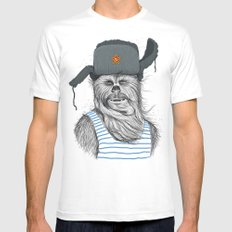 Russian Chewbacca White Mens Fitted Tee LARGE