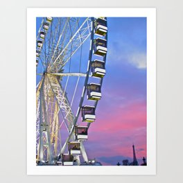 Ferris wheel at sunset Art Print