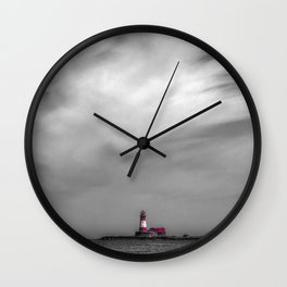 Red lighthouse on a cloudy day Wall Clock