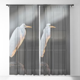 Great Egret at Sunset Sheer Curtain