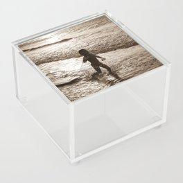 Little surfer girl runs in the waves with her bodyboard Acrylic Box