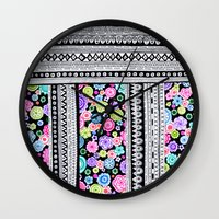 blanket Wall Clocks featuring Psychedelic blanket by Asja Boros