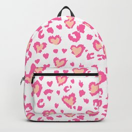 White & Pink Leopard Hearts Backpack