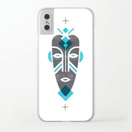 African Mask Blue Clear iPhone Case