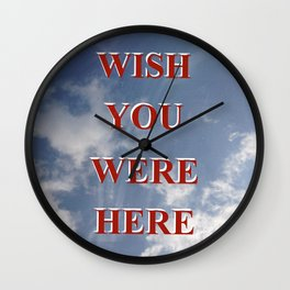 Wish You Were Here Sky Quote Red Wall Clock