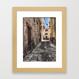 bicycle at the house door - ready to go Framed Art Print