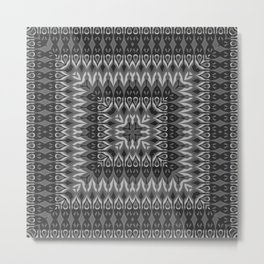 Black gray ethnic pattern . 2. Metal Print