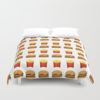 french fries Duvet Covers featuring Burgers and Fries Pattern by A Little Leafy
