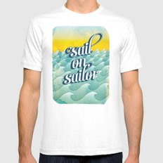 Sail on sailor, MEDIUM Mens Fitted Tee White