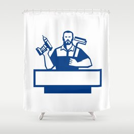Handyman Bearded Cordless Drill Paintroller Retro Shower Curtain