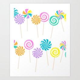Rainbow Lollipop – Pastel Candy Shop Pattern Art Print
