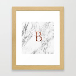 Monogram rose gold marble B Framed Art Print