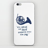 how i met your mother iPhone & iPod Skins featuring How I Met Your Mother - Blue French Horn by Victoria Schiariti