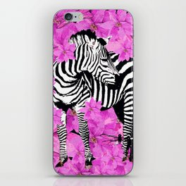 ZEBRA AND PINK FLOWERS and DRAGONFLIES iPhone Skin