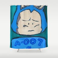 dragonball Shower Curtains featuring A-007 by paintpusha