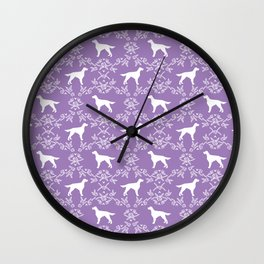 Irish Setter floral dog breed silhouette minimal pattern purple and white dogs silhouettes Wall Clock