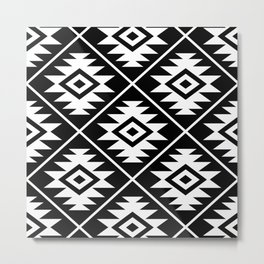 Aztec Symbol Pattern White on Black Metal Print