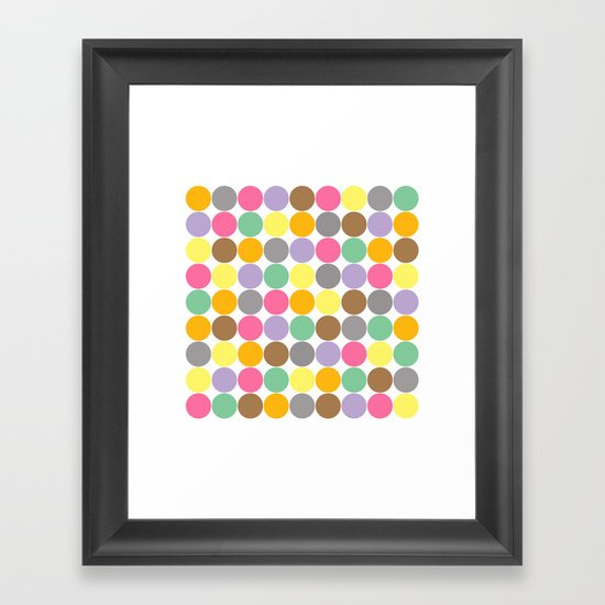 Candy Rounds White (Coal available too) Framed Art Print