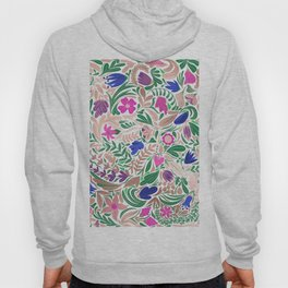 Colorful Rose Gold Floral Leaf Illustrations Hoody
