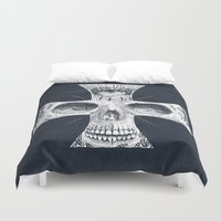 gore Duvet Covers featuring Cross Skull 2.0 by pakowacz