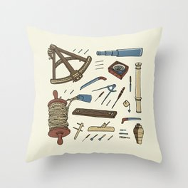 Vintage Sailing & Shipbuilding Tools Throw Pillow
