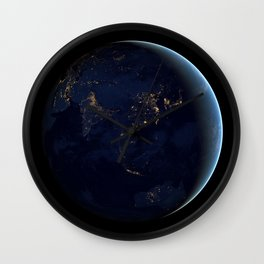1160. Earth Black Marble - Asia and Australia Wall Clock