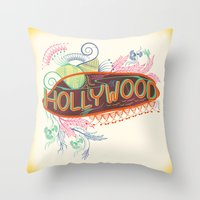 decorative Throw Pillows featuring Decorative Typographic by famenxt