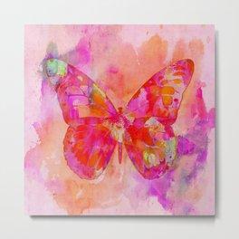 Mixed Media Artsy Butterfly Metal Print