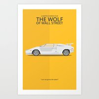 wolf of wall street Art Prints featuring The Wolf of Wall Street by George Townley