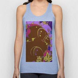 Modern Purple-Coffee Color Fantasy Scrolls & Flowers Ferns Art Unisex Tank Top