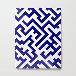 White and Navy Blue Diagonal Labyrinth Metal Print