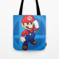 mario Tote Bags featuring Mario by Ryan Ketley