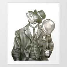 In which nothing says happy birthday like a fish in a suit Art Print