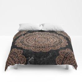 Mandala - rose gold and black marble 2 Comforters