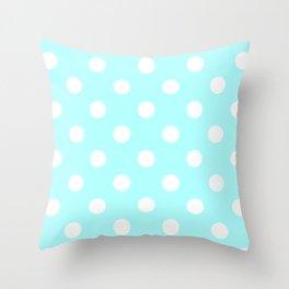 Polka Dots - White on Celeste Cyan Throw Pillow