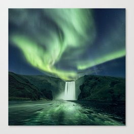 Skogafoss aurora Canvas Print