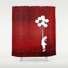Banksy The Balloons Girls Silhouette Shower Curtain