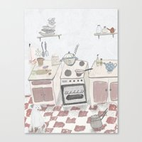 kitchen Canvas Prints featuring Kitchen by Inga Provorova